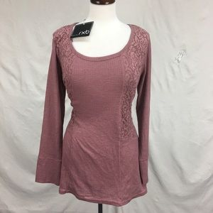 NWT RXB  Rose Tunic Lace Waffle Knit Textured Top